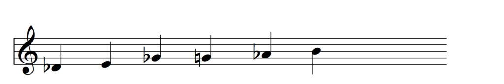 Blues scale in the key of D flat